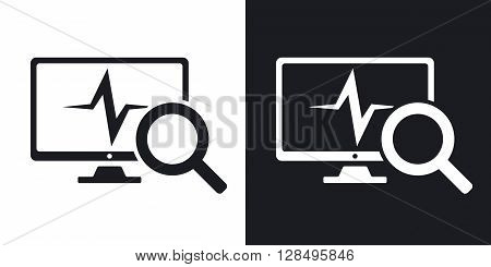 Computer diagnostics icon vector. Two-tone version on black and white background