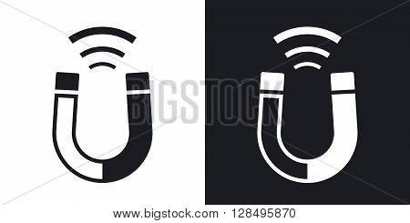 Magnet icon stock vector. Two-tone version on black and white background