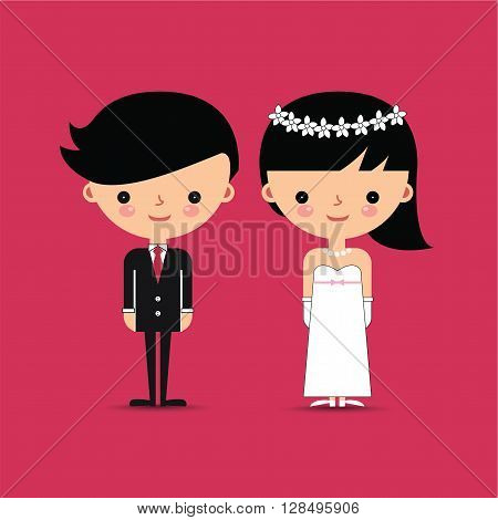 Groom and Bride Characters on Pink Background