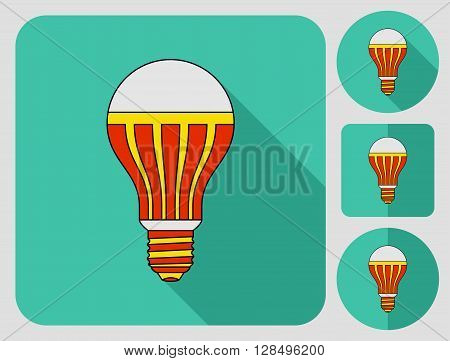 Ligth lamp. Colored outlined icon in flat style with shadow. Vector illustration.