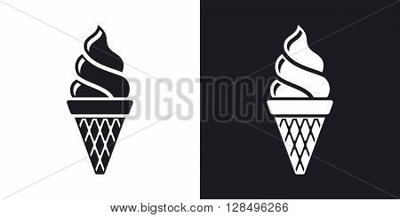 Vector ice cream cone icon. Two-tone version on black and white background