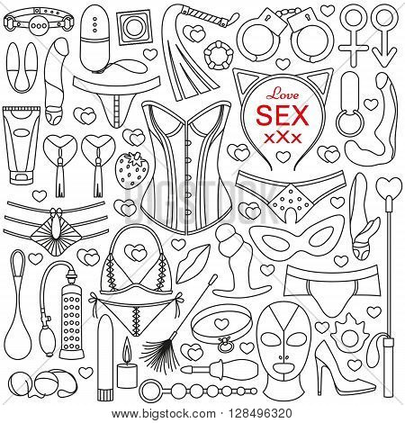 Sex toys set. Outlined icons. Vector illustration.
