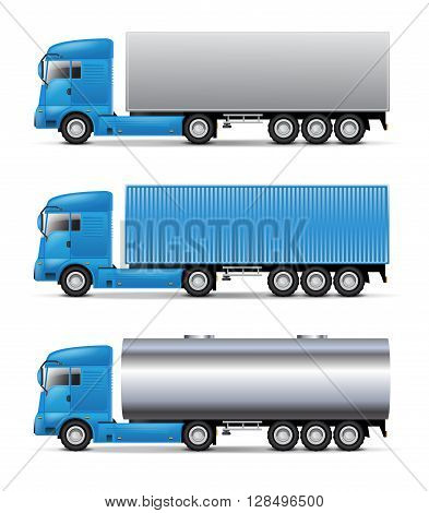 Semi trucks set isolated on white background.
