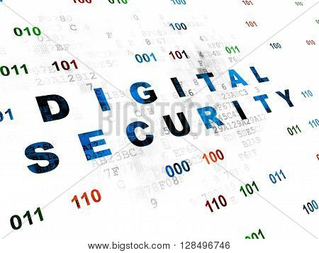 Security concept: Pixelated blue text Digital Security on Digital wall background with Binary Code