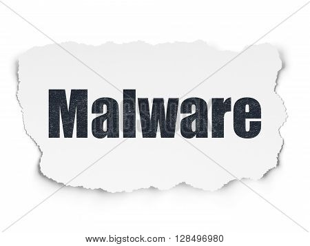 Safety concept: Painted black text Malware on Torn Paper background with  Binary Code