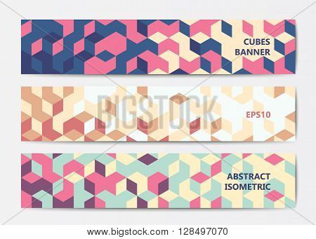 Abstract polygonal banner templates with colorful isometric cubes patterns