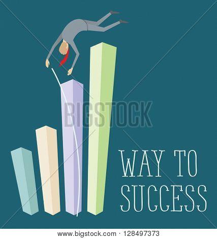 Vector flat business concept way to success. Business man jump pole vault