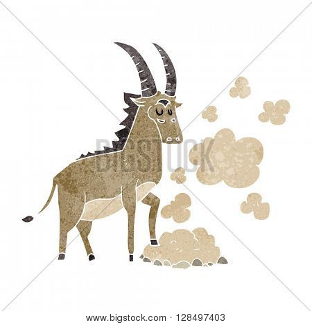 freehand retro cartoon antelope