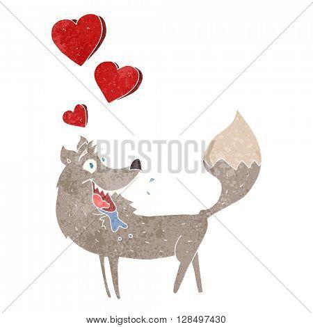 freehand retro cartoon wolf in love