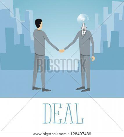 Vector flat business concept deal handshake