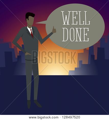 Vector flat business concept Businessman shows well done