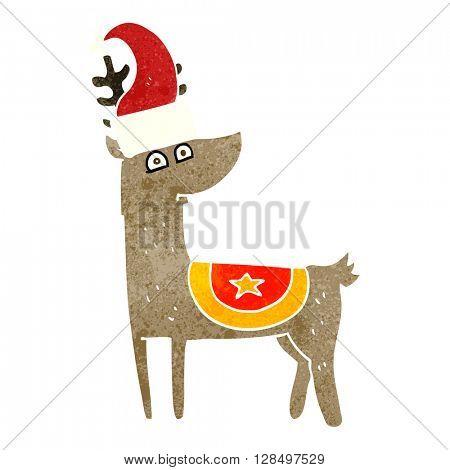freehand retro cartoon reindeer wearing christmas hat