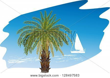 illustration with palm tree and boat silhouette in blue sea