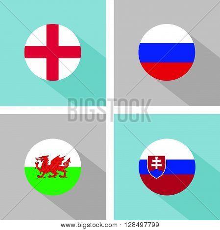 soccer group B teams flags in flat design. vector