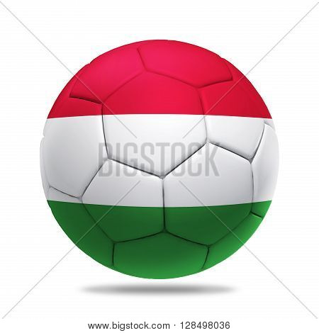 3D soccer ball with Hungary team flag isolated on white