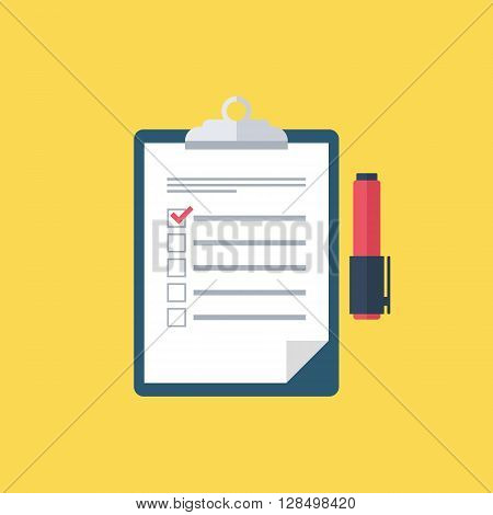 Survey vector icon. Survey clipboard. Checklist and felt-tip pen. Survey form. Survey results. Report board. Clipboard. Vector illustration.