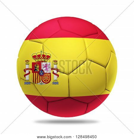 3D soccer ball with Spain team flag isolated on white