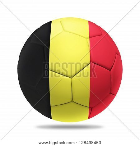 3D soccer ball with Belgium team flag isolated on white