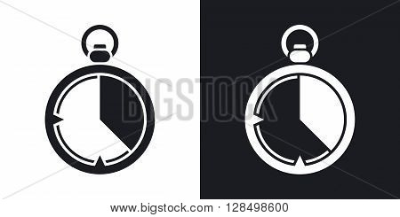 Stopwatch icon vector. Two-tone version on black and white background