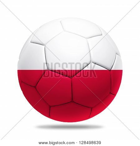3D soccer ball with Poland team flag isolated on white