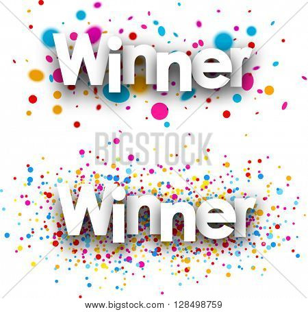 Winner paper banners set with color drops. Vector illustration.