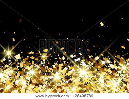 Black festive background with golden confetti. Vector illustration.