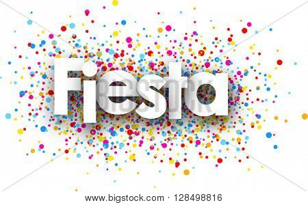 Party paper card with color drops, Spanish. Vector illustration.