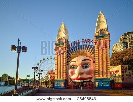 SYDNEY AUSTRALIA - August, 8, 2016. Luna Park on sunset it is an amusement park located at Milsons Point in Sydney Australia.