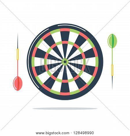 Dartboard with darts. Flat design vector Illustration.