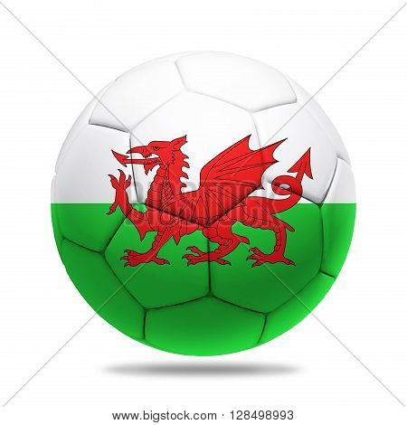 3D soccer ball with Wales team flag isolated on white
