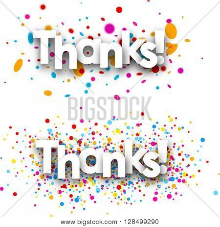 Thanks paper banners set with color drops. Vector illustration.