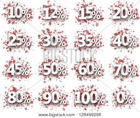 Paper signs set with numbers and percent. Vector illustration.