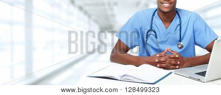 Hands of medical doctor man.