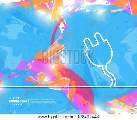Creative vector power cabel. Art illustration template background. For presentation, layout, brochure, logo, page, print, banner, poster, cover, booklet, business infographic, wallpaper, sign, flyer.