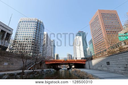 SEOUL SOUTH KOREA - MARCH 15 2016: Gwanggyo bridge of Cheonggyecheon stream in Seoul Korea. Cheonggyecheon is 11 km long modern (since 2005) public recreation space in Seoul on the site of stream