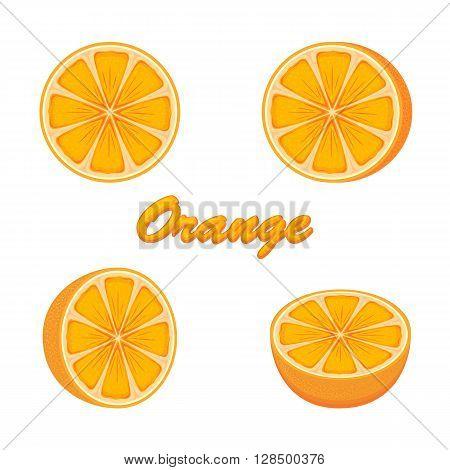 Set of fresh ripe oranges isolated on white background, illustration.