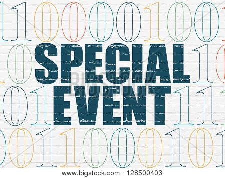 Business concept: Painted blue text Special Event on White Brick wall background with Binary Code