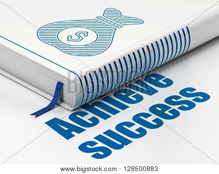 Finance concept: closed book with Blue Money Bag icon and text Achieve Success on floor, white background, 3D rendering