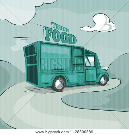 Food truck. Vintage vector monochrome background picture. Retro poster with place for your text