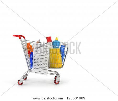 Shopping cart with detergent bottles and chemical cleaning supplies isolated on white. 3d illustration