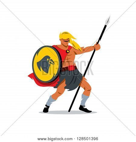 Man with shield and spear Isolated on a white background