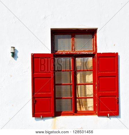 Greece Antique     Window   In  Europe    Old Architecture And Gray Concrete
