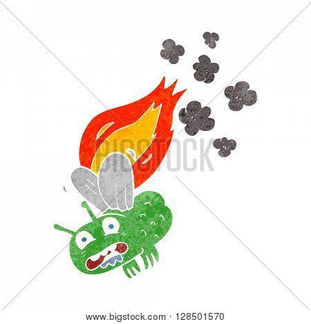 freehand retro cartoon fly crashign and burning