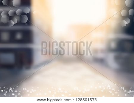 City blurred lights background
