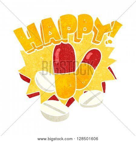 freehand retro cartoon happy pills