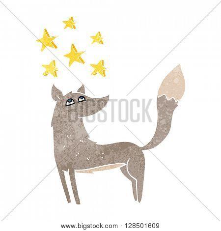 freehand retro cartoon wolf with stars