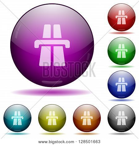 Set of color highway glass sphere buttons with shadows.