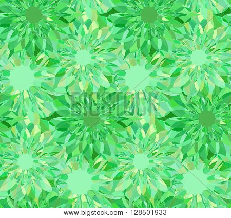 Seamless floral pattern with green guilloche flowers. Emerald crystal seamless guilloche pattern or background. Vector illustration