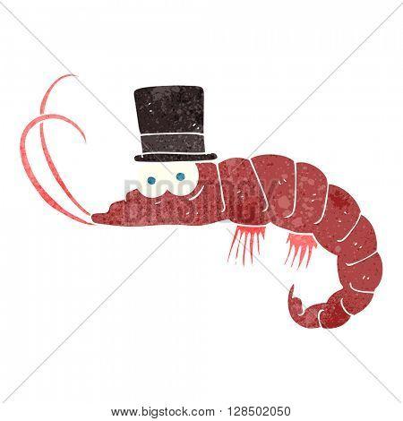 freehand retro cartoon shrimp