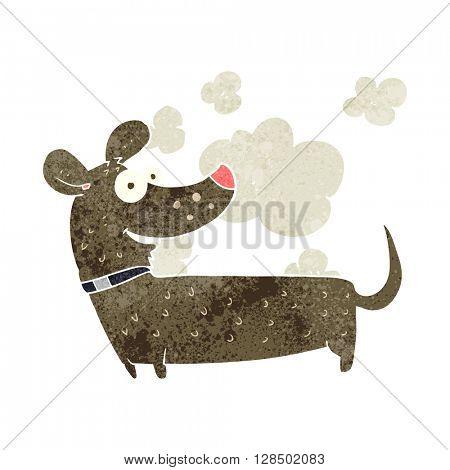 freehand retro cartoon happy dog